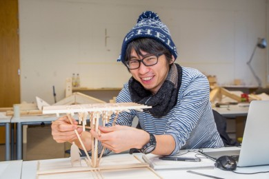 Architecture student constructs a model. Photo: Olli Häkämies