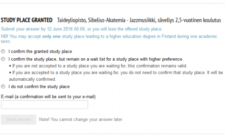 My Studyinfo-service view of accepting a study place