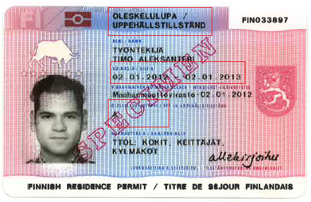 Specimen of a Finnish residence permit card