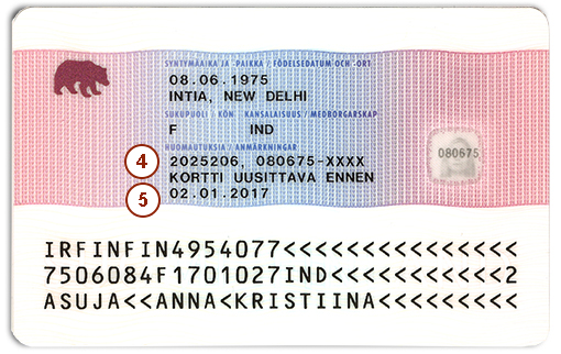 Residence permit card