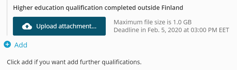 Image of uploading an attachment to the application form.