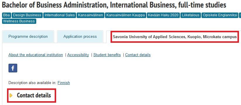 Image of where to find the contact details of the higher education institution.