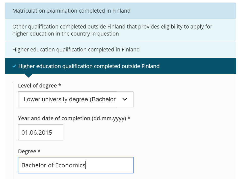 Image of educational background section on application form.