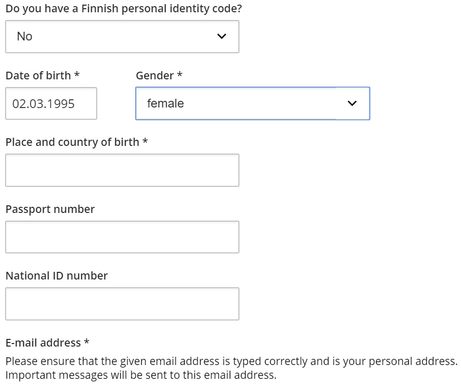 Image of information that needs to be filled in if applicant does not have a Finnish identity code.