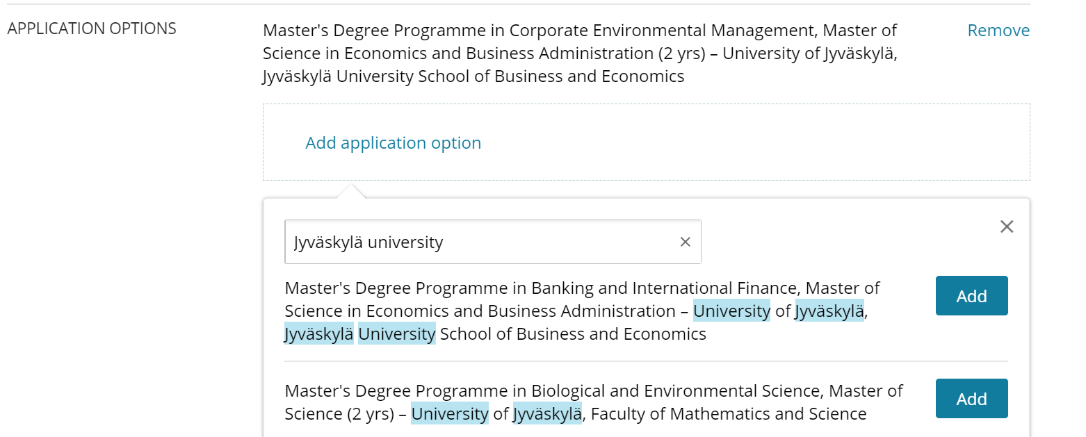 Image of searching for application options with search words on the application form.