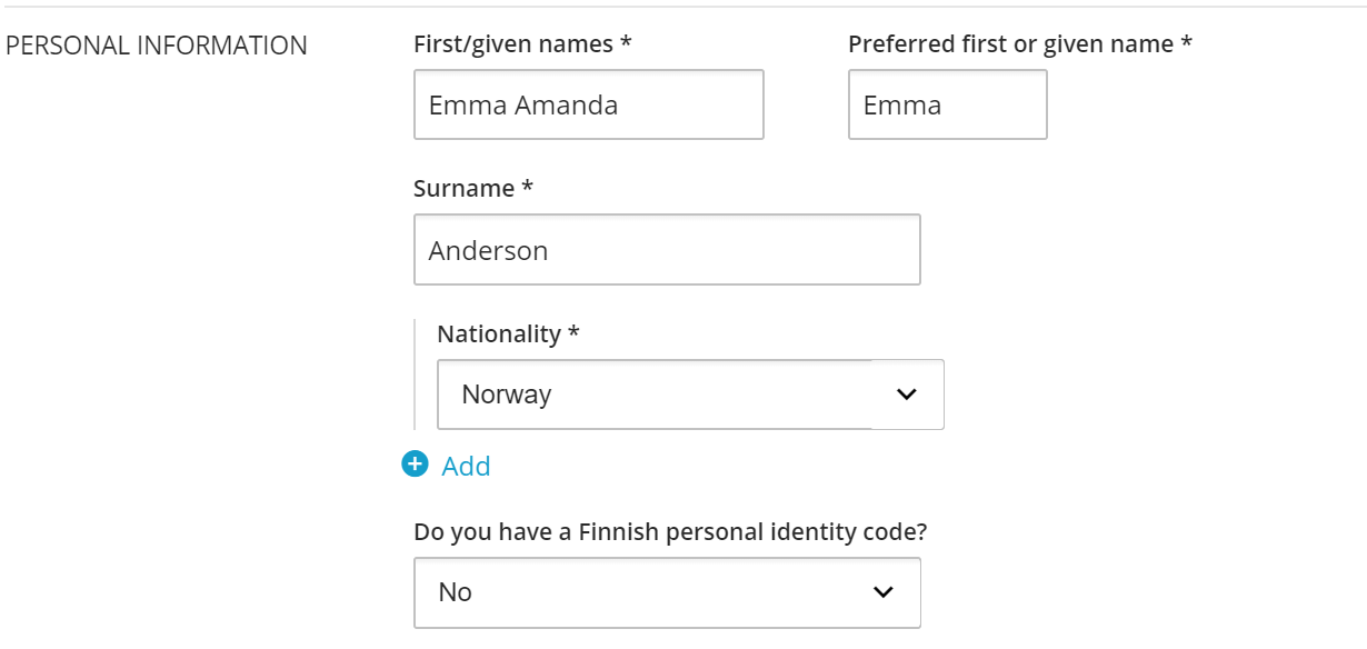 Image of the personal details section on application form.