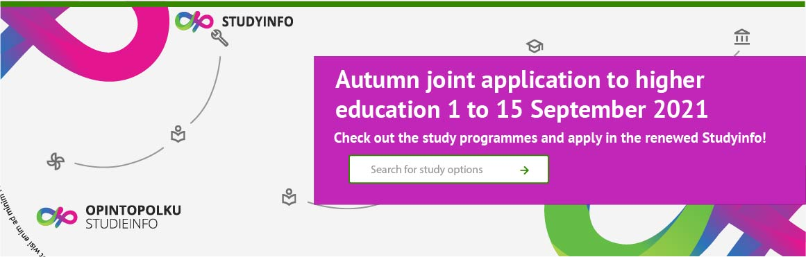 Image link to study programmes offered in the autumn joint application to higher education in the renewed Studyinfo.